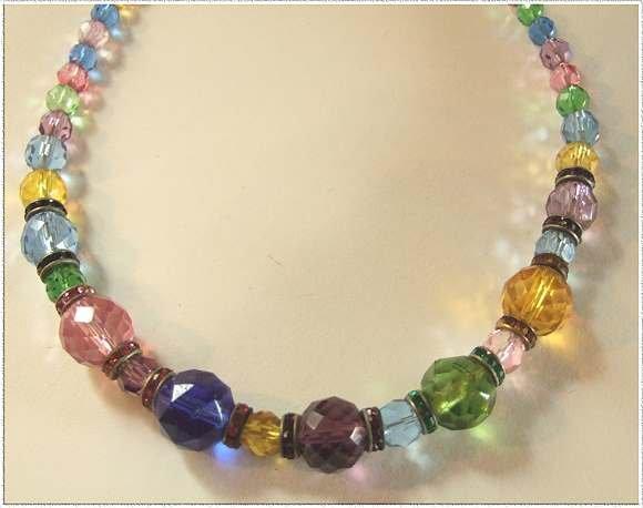 Art Deco Crystal Necklace Rainbow w Rhinestones 9475