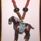Chinese Bead Necklace w Cloisonne Horse Pendant 9380