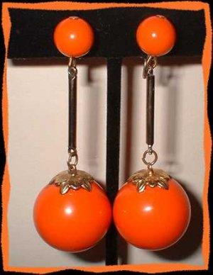 Orange Dangle Ball Earrings Vintage 50s Thermo Plastic