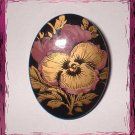 Lacquer Wood Pin Vintage Pansy Flower in Gold and Mauve 9298
