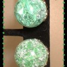 Glass Earrings Vintage Mint Green Crackle Glass Orbs 9154