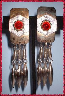 Retro Modern Earrings Silver Chrome Hand Made Dangles 8593
