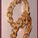 Gold Hoop Earrings Crown Trifari Vintage Chain Link 9070