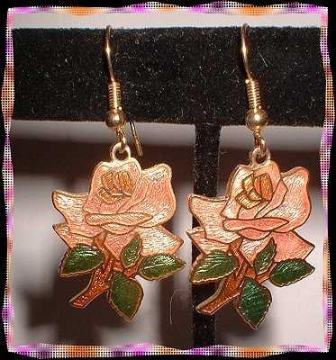 Cloisonne Earrings Vintage Pink Roses w Leaves Pierced 9063
