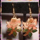 Cloisonne Earrings Vintage Pink Roses w Leaves Pierced 9063