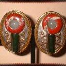 Jade n Jasper Earrings Vintage South West Motif Pierced 9064