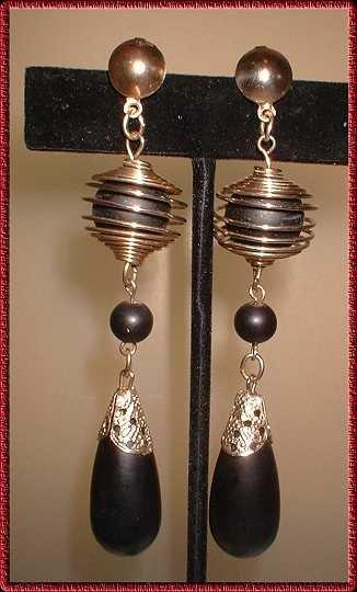 Retro Modern Earrings Vintage Black Wood w Gold 9066