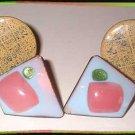 Copper Earrings 2 Pairs Vintage 50s Copper Enamel Clips 9061