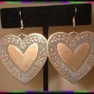 Vintage Heart Earrings LG Brass Hearts Pierced 8883