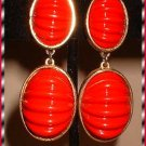 Red Scarab Glass Earrings Vintage Signed Castlecliff 8180