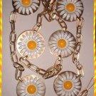 Vintage Daisy Belt Copper Enamel Flowers w Gold Chain 9017
