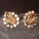 Gold Rhinestone Earrings Vintage 1950s Elegant Leaves 6606