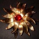 Designer Gold Flower Pin Vintage 40s Signed ROGET 7675