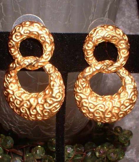 Gold Hoop Earrings Vintage Anne Klein Designer Signed 6872