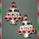 Christmas Tree Earrings Silver Red Green Rhinestones 8929