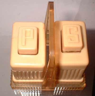 Vintage Carvalite Celluloid Push Button Salt Pepper Set w Holder 7085