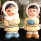 Vintage Japanese Eskimo Boy Girl Salt and Pepper Shakers 6315