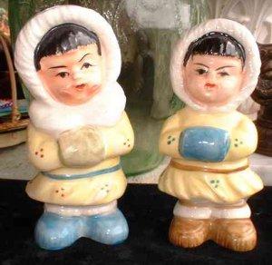 Vintage Japanese Eskimo Boy Girl Salt and Pepper Shakers 6315