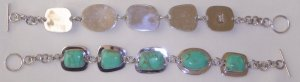 NEW GENUINE 925 SILVER AND TURQUOISE WOMEN'S 5-STONE BRACELET FLAWLESS! LOW SHIPPING!