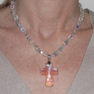 GENUINE STERLING SILVER AND CRYSTAL CROSS NECKLACE