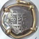 A Sea Salvaged Spanish Colonial Silver Cob In 14k Bezel