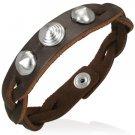 Brown Studded Leather Bracelet