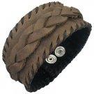 Greek Brown Braided Leather  Bracelet