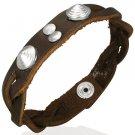 Genuine Leather Braided Round Pyramid Stud Snap Bracelet