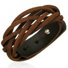 Genuine Dark Brown Weaved Cuff Leather Bracelet