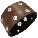 Genuine Riveted Brown Leather Cuff Bracelet