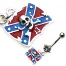 Confederate Flag W/Skull Dangle Belly Ring
