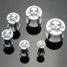 Pair White Skull Inlay Saddle Plugs 4 Gauges 5mm