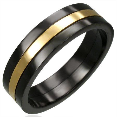 Black Stainless Steel 2-Tone Ring - Size 12