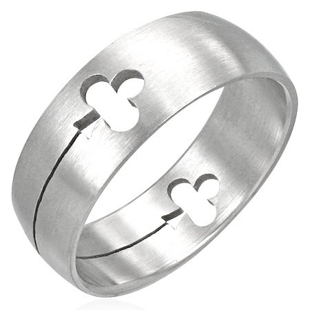 Stainless Steel Clover Ring - Size 7