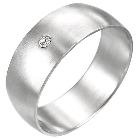 Stainless Steel Ring w/Clear CZ - size 8