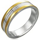 Stainless Steel 2-Tone Ring w/ CZ - Size 9