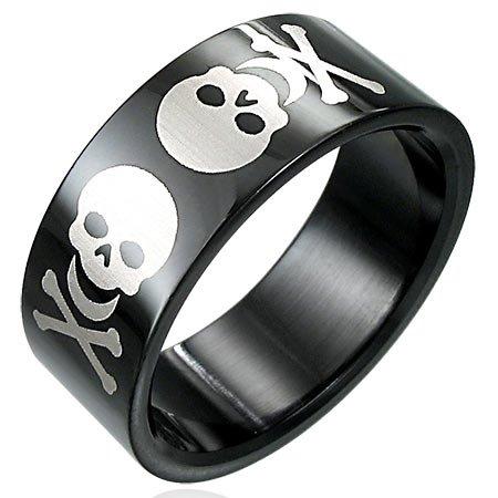 Black Stainless Steel Skull Ring Size 11