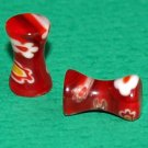 Pair of Reddish Double Flared Glass Saddle Plugs 6 Gauges 4mm