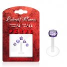PTFE Labret / Monroe Bonus Pack w/ Purple Interchangeable Push-in Prong Set Tops 16 Gauge 5/16