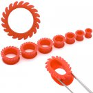 Pair Red Saw Flex Silicone Ear Tunnel 7/8 gauges or 22mm