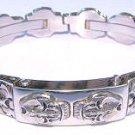 Stainless Steel Skull Biker Bracelet Size 9