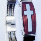 Stainless Steel Cross Wristband Bracelet Size 7
