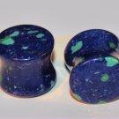Pair (2pcs) Natural Azurite Stone  Saddle EAr Plugs 1/2  12.7mm Gauges
