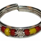 Silver Bead Toe Ring Red and Yelow