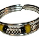 Silver Toe Ring with Yellow and Black Beads