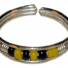 Silver Toe Ring with Black and Yellow Beads