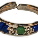 Silver Bead Toe Ring Blue and Green