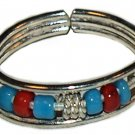 Silver Toe Ring with Blue and Red Beads