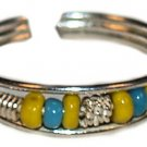Silver Toe Ring with Yellow and Green Beads
