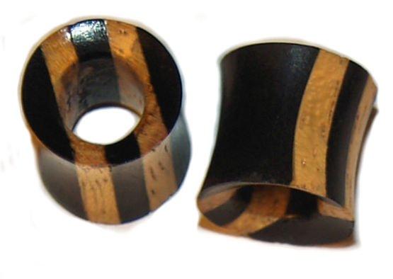Pair Organic Ebony Wood Tunnel Plugs 00Gauges  10mm